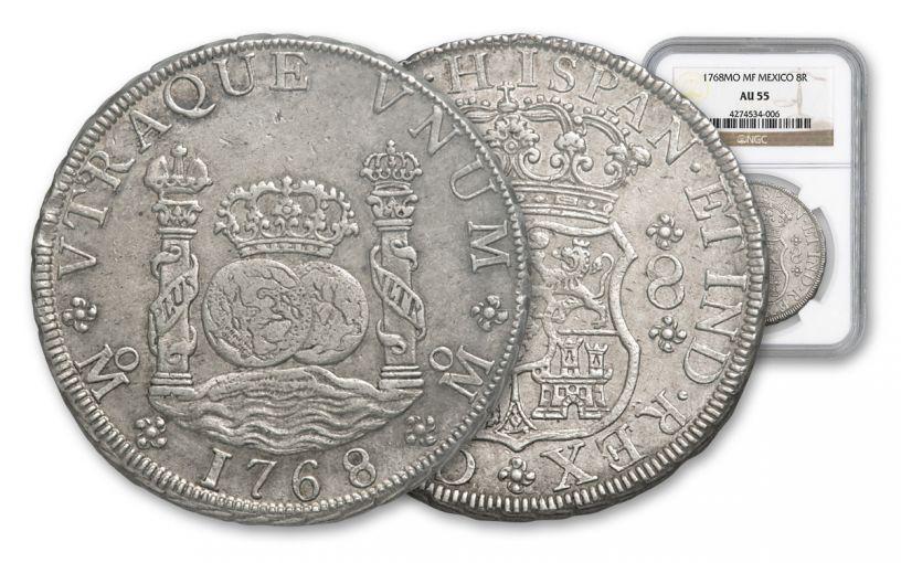 1735-1771 Spain 8 Reales Silver Pillar NGC AU