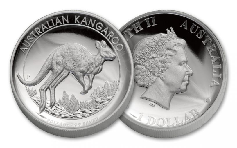 2017 Australia 1 Dollar 1-oz Silver Kangaroo High Relief Proof