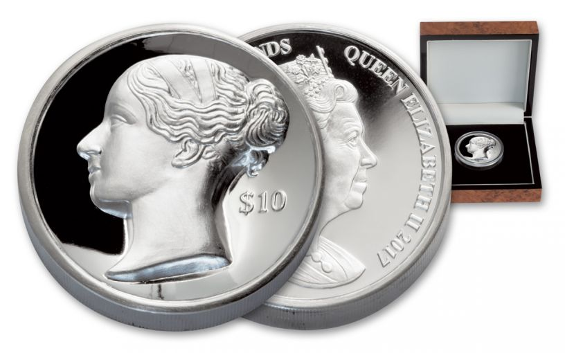 2017 British Virgin Islands 10 Dollar 2-oz Silver Queen Victoria Ultra High Relief Proof