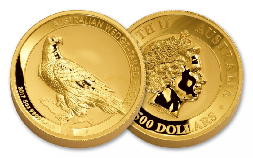 2017 Australia 500 Dollar 5-oz Gold Wedge Tail Eagle High Relief Reverse Proof