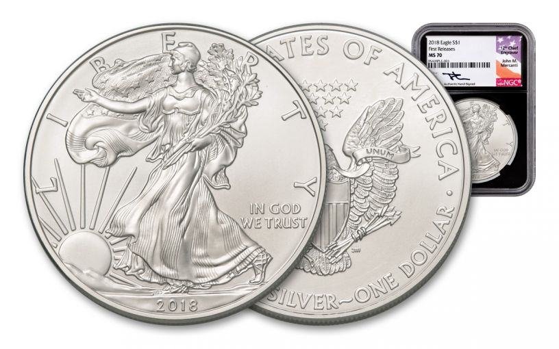 2018 1 Dollar 1-oz Silver Eagle NGC MS70 First Releases Mercanti Signed - Black