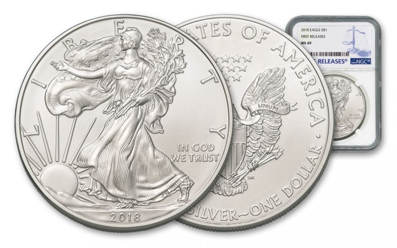 2018 1 Dollar 1-oz Silver Eagle NGC MS69 First Releases