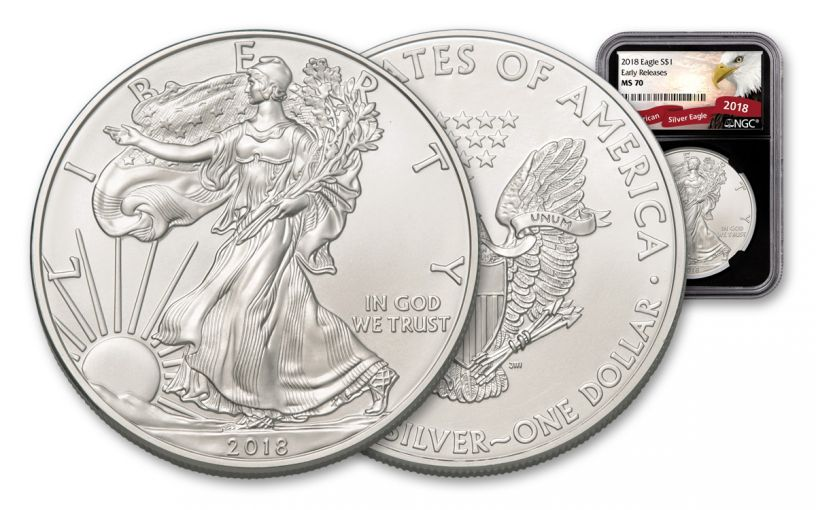 2018 1 Dollar 1-oz Silver Eagle NGC MS70 Early Releases Eagle Label - Black