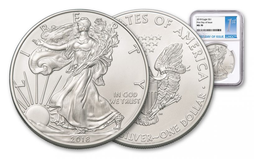 2018 1 Dollar 1-oz Silver Eagle NGC MS70 First Day Of Issue