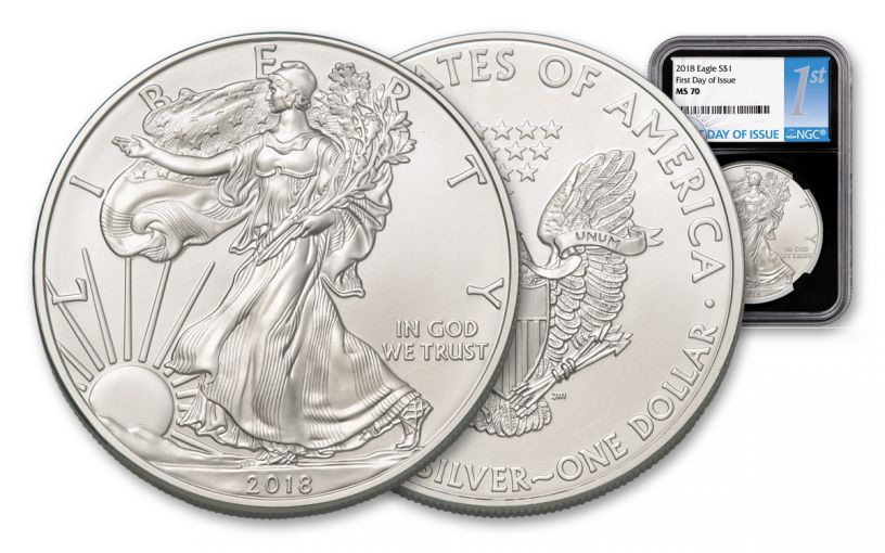 2018 1 Dollar 1-oz Silver Eagle NGC MS70 First Day Of Issue - Black