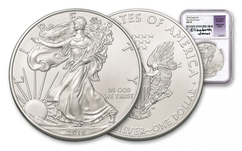2018 1 Dollar 1-oz Silver Eagle NGC MS70 First Day Of Issue Jones Signed