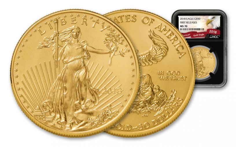 2018 50 Dollar 1-oz Gold Eagle NGC MS70 First Releases Eagle Label - Black