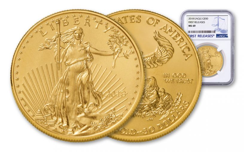 2018 50 Dollar 1-oz Gold Eagle NGC MS69 First Releases