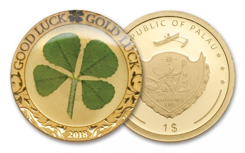 2018 Palau One Dollar 1 G Gold Four Leaf Clover Proof