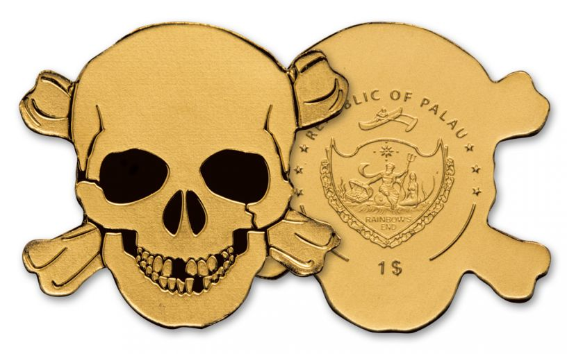 2017 Palau 1 Dollar 1/2 Gram Gold Pirate Skull Brilliant Uncirculated
