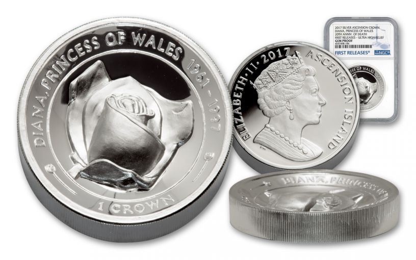 2017 Ascension Islands 1 Crown 2-oz Silver Diana Rose Ultra-High Relief Piedfort NGC Gem Proof- First Releases