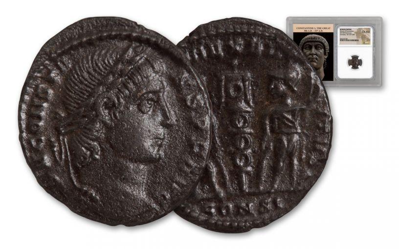 Ancient Roman Bronze Constans NGC CH AU
