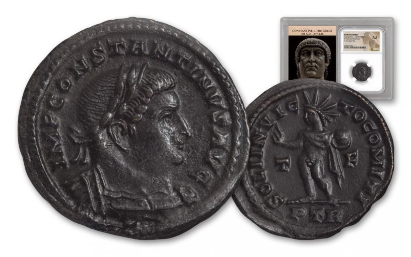 ANCIENT ROMAN BRONZE CONSTANTINE I NGC AU