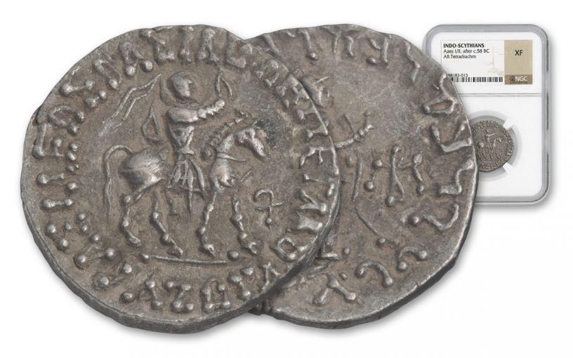 Ancient Azes Silver Tetradrachm NGC XF