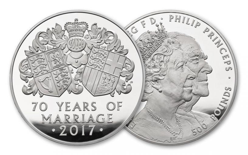 2017 Great Britain Kilo Silver 70th Wedding Anniversary Proof OGP