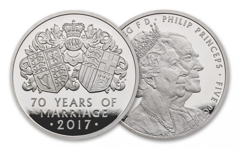2017 Great Britain 25 Pound 1/4-oz Platinum 70th Wedding Anniversary Piedfort Proof OGP