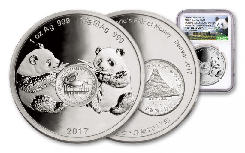 2017 1-oz Silver Panda Denver ANA NGC PF70UCAM Early Release
