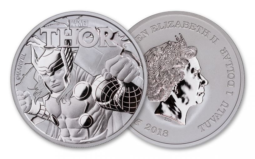 2018 Tuvalu 1-oz Silver Thor Brilliant Uncirculated