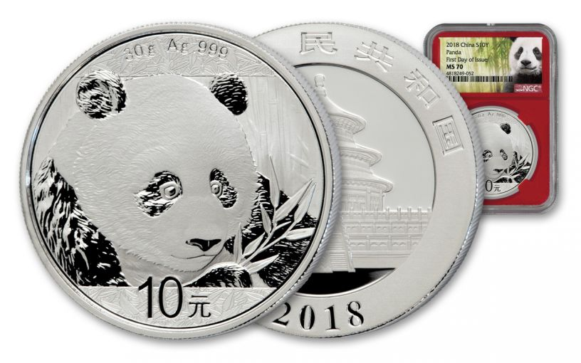 2018 China 30 Gram Silver Panda NGC MS70 First Day Of Issue – Red Core