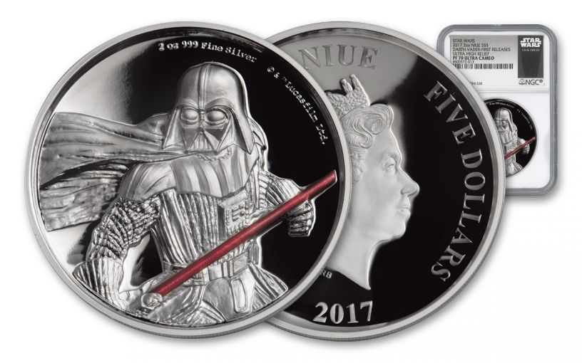 2017 Niue $5 2-oz Silver Darth Vader Ultra High Relief NGC PF70UCAM First Releases - Black Core