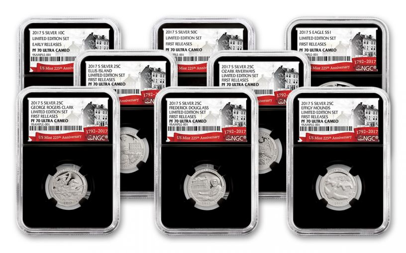 2017-S Limited Edition Silver Proof Set NGC PF70UCAM FR 225th Anniversary - Black