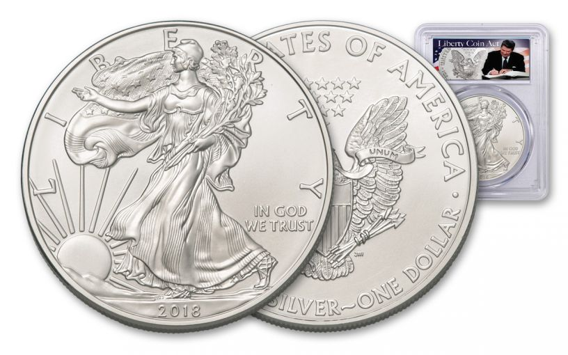 2018 1 Dollar 1-oz Silver Eagle PCGS MS69 First Strike Liberty Coin Act