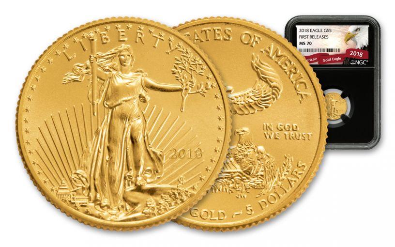 2018 5 Dollar 1/10-oz Gold Eagle NGC MS70 First Releases Eagle Label - Black