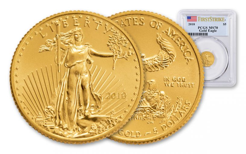 2018 5 Dollar 1/10-oz Gold Eagle PCGS MS70 First Strike