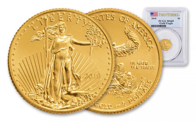 2018 5 Dollar 1/10-oz Gold Eagle PCGS MS69 First Strike