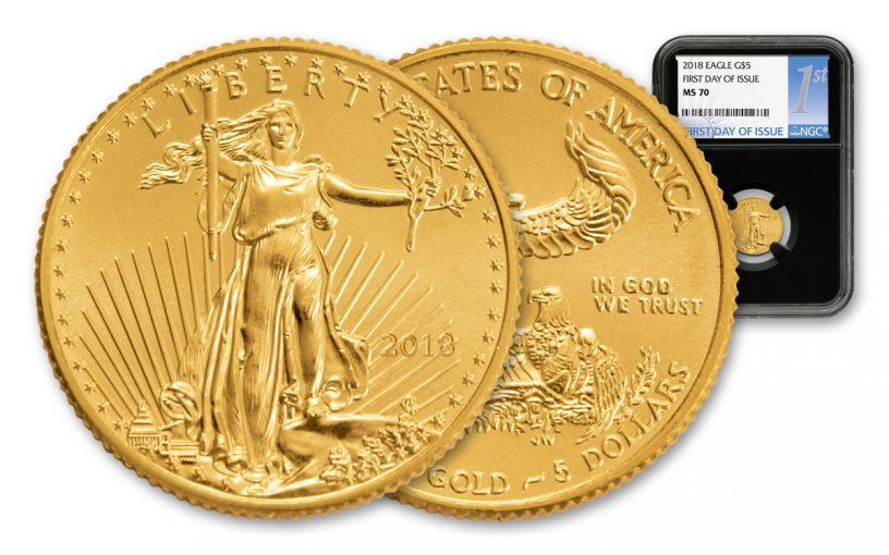 2018 5 Dollar 1/10-oz Gold Eagle NGC MS70 First Day Of Issue Silver Label - Black
