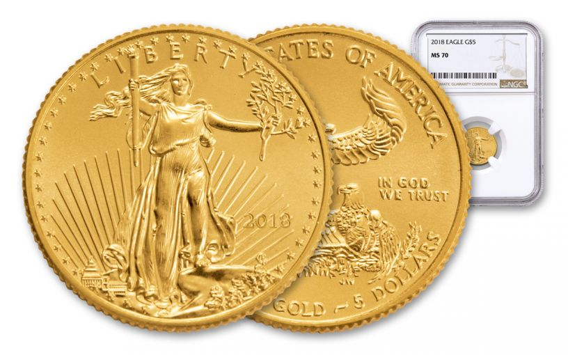 2018 5 Dollar 1/10-oz Gold Eagle NGC MS70 Brown Label