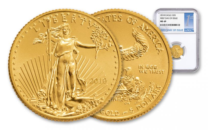 2018 5 Dollar 1/10-oz Gold Eagle NGC MS69 First Day Of Issue Silver Label