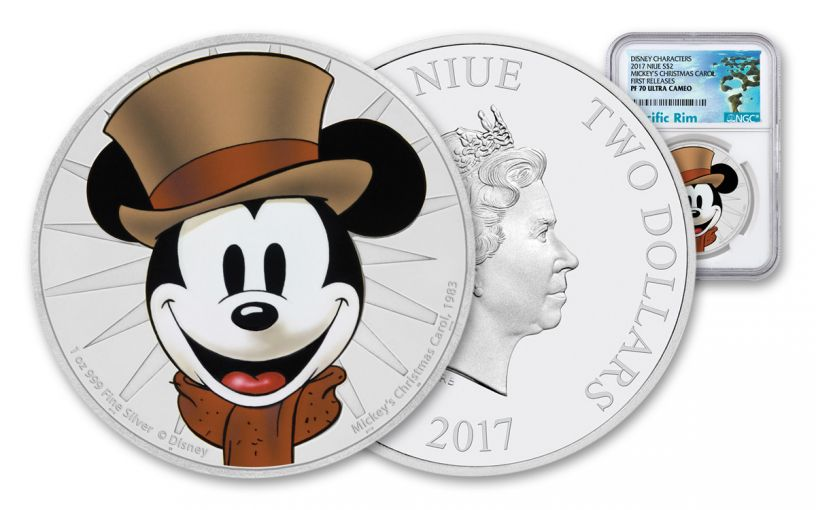 2017 Niue 1-oz Silver Mickey Christmas Carol NGC PF70UCAM First Releases
