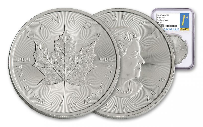 2018 Canada 1-oz Silver Maple Leaf NGC MS70 First Day Of Issue