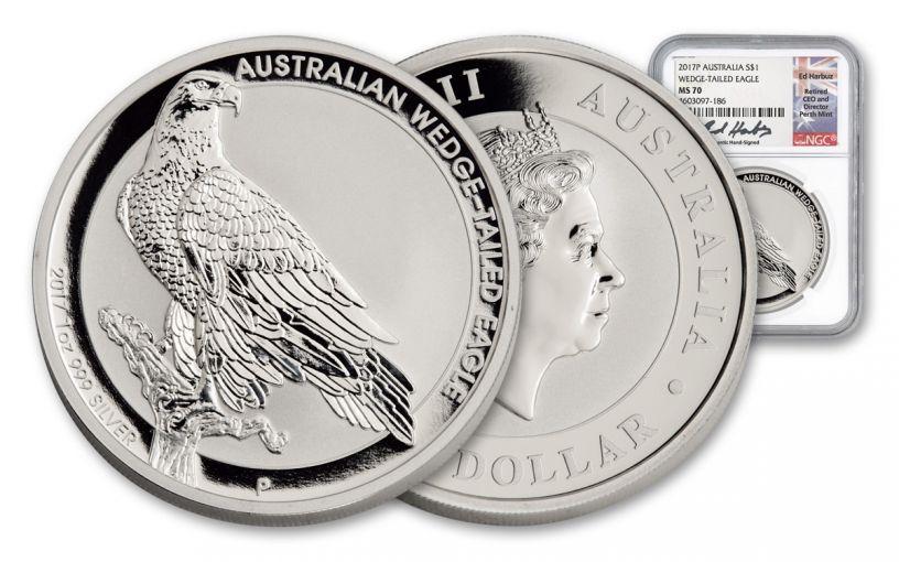 2017 Australia 1 Dollar 1-oz Silver Wedge Tail Eagle NGC MS70- Harbuz Signed