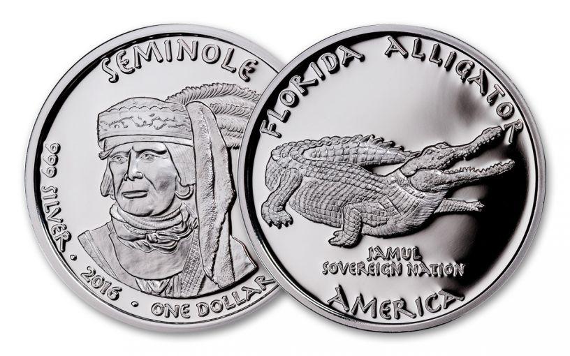 2016 Florida 1 Dollar 1-oz Silver Alligator Seminole Proof