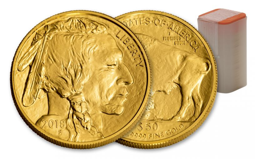 2018 50 Dollar 1-oz Gold Buffalo BU 20-Coin Roll