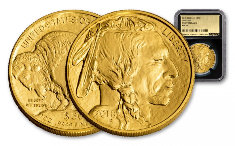 2018 50 Dollar 1-oz Gold Buffalo NGC MS70 Early Releases Gold Foil - Black