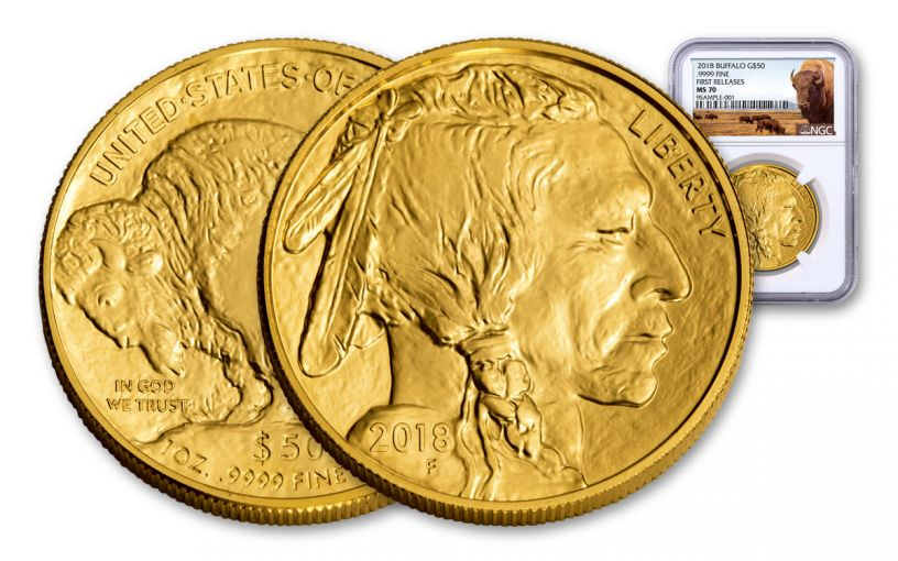 2018 50 Dollar 1-oz Gold Buffalo NGC MS70 First Releases Buffalo Label