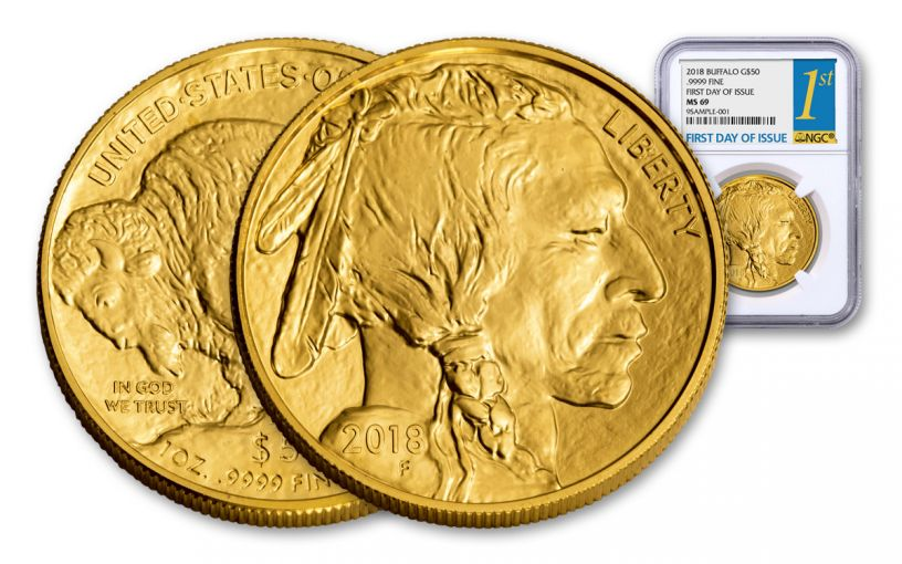 2018 50 Dollar 1-oz Gold Buffalo NGC MS69 First Day Of Issue