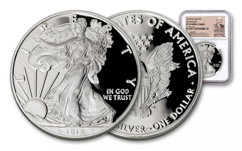 2018-W 1 Dollar Silver Eagle NGC PF70UCAM First Releases Weinman