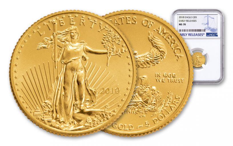 2018 5 Dollar 1/10-oz Gold Eagle NGC MS70 Early Releases