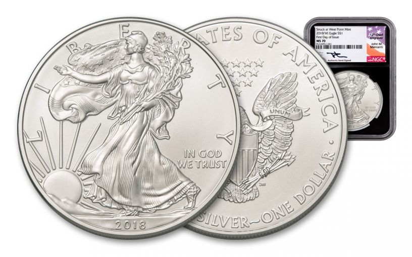 2018-W 1 Dollar 1-oz Silver Eagle NGC MS70 First Day Of Issue Mercanti Signed - Black