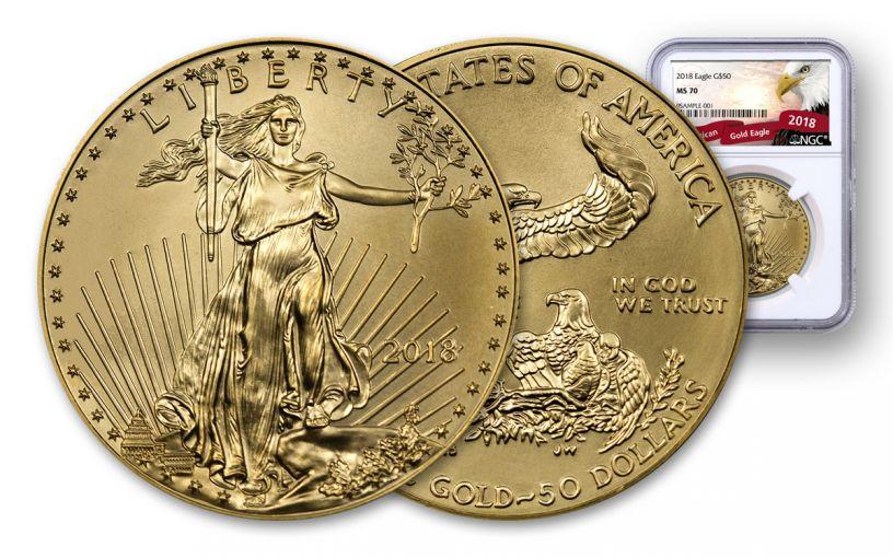 2018 50 Dollar 1-oz Gold Eagle NGC MS70 Eagle Label