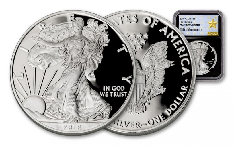 2018-W $1 Dollar 1-oz Silver Eagle NGC PF69UCAM First Releases Gold Star Label - Black