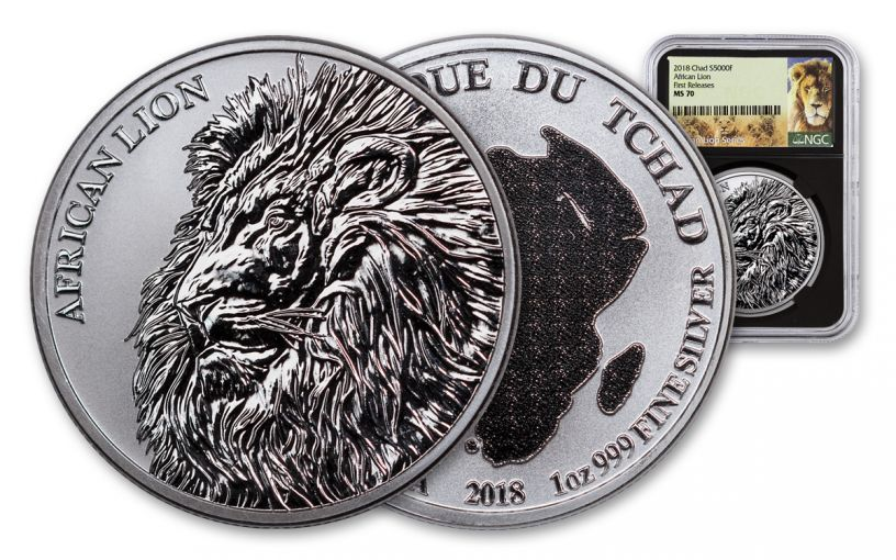 2018 Chad 5000 Franc 1-oz Silver African Lion NGC MS70 First Releases - Black