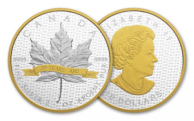 2018 Canada 10 Dollar Silver Maple Leaf 30 Year Tribute