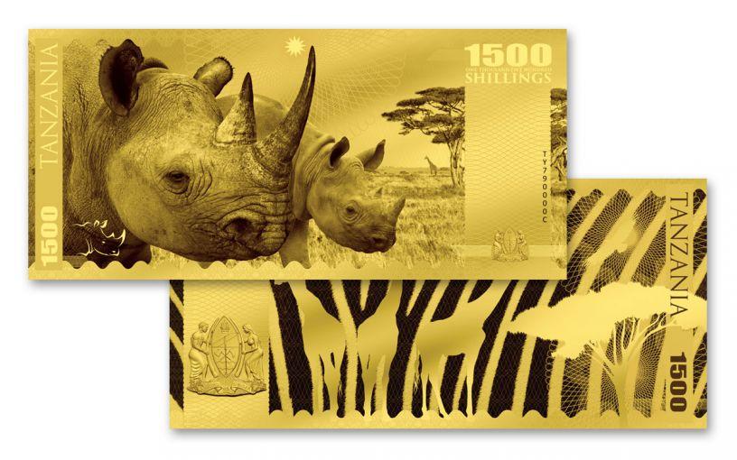 2018 Tanzania 1500 Shilling 1-gram Gold Big Five Rhino Proof-Like