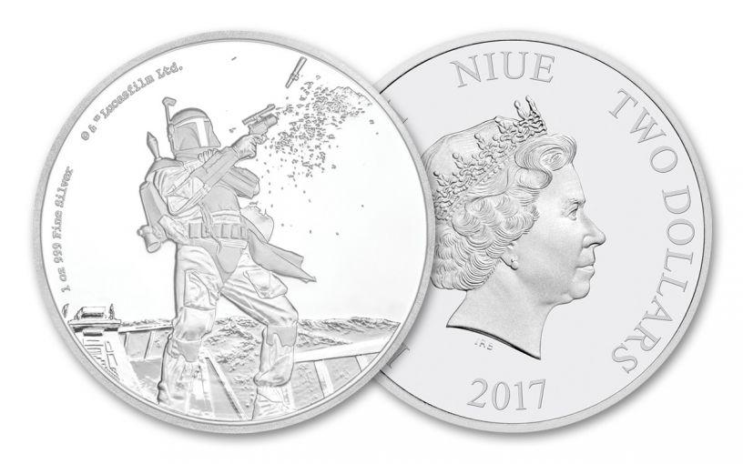 2017 Niue 2 Dollar 1-oz Silver Star Wars Boba Fett Proof