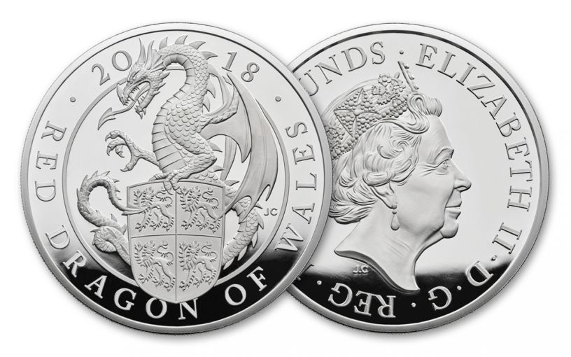 2018 Great Britain 5-oz Silver Queen's Beast Red Dragon Proof